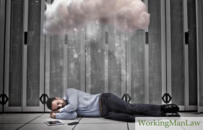 abstract image of a man sleeping next to his tablet under a cloud